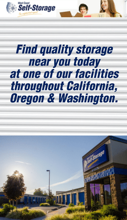 Find Storage At West Coast Self Storage Locations In WA, OR And CA