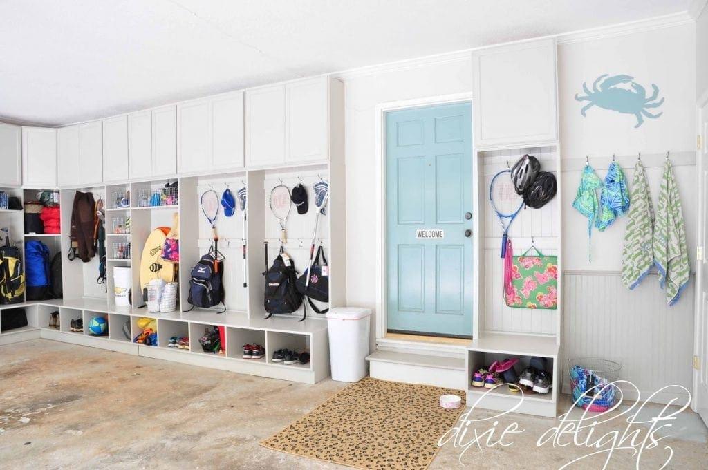 Interior Of Garage With Storage Cubbies